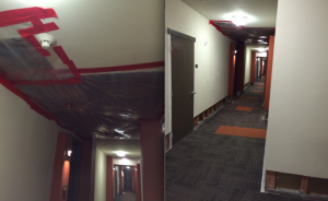 Recent water damaged ceilings and walls at a new luxury property in downtown - beware of cheap construction!