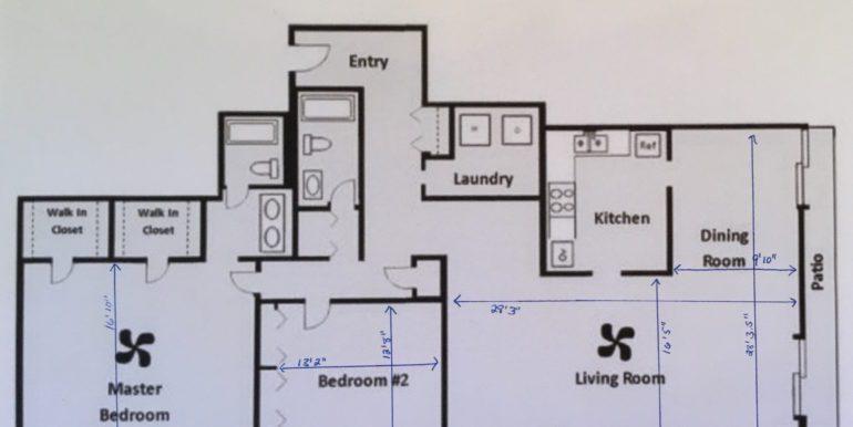 1551 Larimer Place #301 Floor Plan w:Room Dimensions